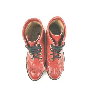 JUSTIN|Junior Red Leather Kiltie Ropers Size 10B
